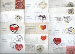 """Lot De 15 Enveloppes Avec Affranchissement """"coeur"""", Tous Différents - Cartas"""
