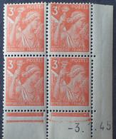 R1098/85 - 1945 - TYPE IRIS - N°655 BLOC NEUF** CdF CD : 3.1.45 - 1940-1949