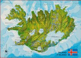 Island Iceland IJSLAND General Map Oversigtskort Ubersichtskarte AK CPA - Islandia