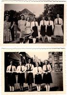 2 Photos Originales Adolescentes De Ruiselede 8755, Belgique, Fanion & Cravates Ascension 1946 - Processie O.L.V.2 - Lieux