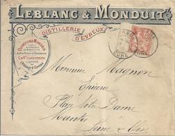 Lettre Publicitaire Distillerie Leblanc Et Monduit Cachet D'Evreux - Cartas