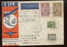 1938.  Première Liaison   SAIGON - SINGAPOUR - BATAVIA - Brieven En Documenten