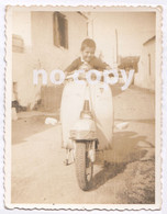 GREECE GREEK YOUNG BOY ON MOTORCYCLE VESPA ORIGINAL OLD PHOTO - Signed Photographs