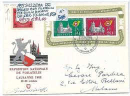 """SVIZZERA ʘ 1955, """"ESPOSIZIONE FILATELICA"""" FOGLIETTO Con ANNULLO Su BUSTA FIRMATA GIULIO BOLAFFI - Blocks & Sheetlets & Panes"""