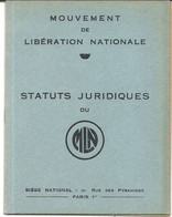 39/45 . MOUVEMENT DE LIBERATION NATIONALE . STATUTS. 12 Pages - Documentos Históricos