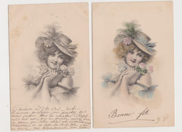 2 Cartes Fantaisie  M.M.VIENNE / Jeune Femme Avec Chapeau , Roses - Non Classificati