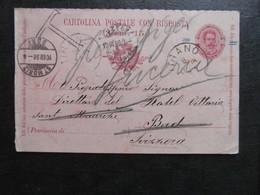 ITALIA ITALIE 1898 CARTOLINA POSTALE ENTIER 7 1/2 REEXPEDIE ET TAXE  A SUISSE ST MORITZ - Entiers Postaux