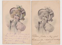2 Cartes Fantaisie  M.M.VIENNE / Jolie Jeune Femme Attachant Son Chapeau - Non Classificati