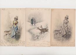 3 Cartes Fantaisie  M.M.VIENNE / Jeune Femme , Couple En Forêt , Biches - Non Classificati