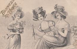 CPA  BONNE ANNEE   FEMMES  Style VIENNE  Illustrateur Signé - Wichera