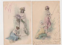 2cartes Fantaisie  M.M.VIENNE / Jeune Femme élégante Et Servante , Canne à Pêche , Bouquet De Fleurs - Non Classificati