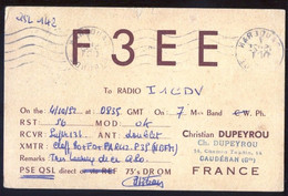 CARTE QSL CARD FUNKKARTE - FRANCE - RADIO AMATEUR - CAUDERAN - 1952 - VIAGGIATA PER L'ITALIA ( QSL2 ) - Radio Amateur
