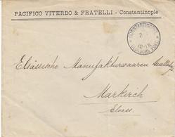 Constantinopel , Deutsche Post , Lettre De 1912 Pour La France ,timbre Au Dos  ,2 Scans - Offices: Turkish Empire