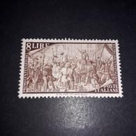 """AREG04 REPUBBLICA ITALIANA 1948 CENTENARIO DEL RISORGIMENTO LIRE 8 """"XX"""" - 1946-60: Mint/hinged"""