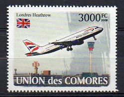 British Airways (BA) AIRBUS 318-100 Aircraft London Heathrow Airport Stamp (Comoros 2008) - MNH (1W2750) - Vliegtuigen