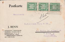 ALLEMAGNE EMPIRE AFFRANCHISSEMENT COMPOSE SUR CARTE DE HAMBOURG POUR LA FRANCE 1926 - Brieven En Documenten