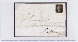 Ireland Kilkenny GB Used In 1840 Penny Black DK Plate 7 Used On Cover Dublin 11 Sept To Thomastown Castle Golden - Unclassified