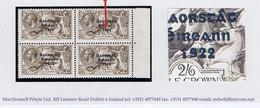 """Ireland 1927-28 Wide Date Saorstat 2s6d Seahorse, Variety """"Flat-tailed 9"""" In Marginal Block Of 4 Fresh Mint - Unused Stamps"""