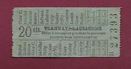 251120A - TICKET CHEMIN DE FER - SUISSE Tramways Lausannois 20 Cts H 27393 - Europa
