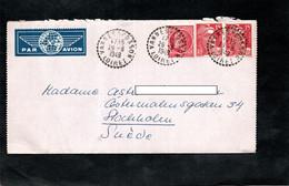 Carte Lettre 1949 - Cachet Perlé VANNES Sur COSSON Sur Enveloppe Pour La Suède - YT 676 & YT 813 - 1921-1960: Moderne