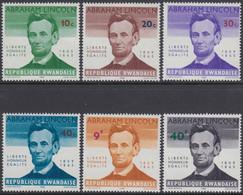 Rwanda 1965 - 100th Anniversary Of The Death Of Abraham Lincoln - Mi 97-102 ** MNH - 1962-69: Neufs