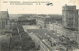 94 - Vincennes - Vue Panoramique Du Vieux Fort Et La Caserne Des Dragons - Avions - Oblitération Ronde De 1916 - CPA - V - Vincennes
