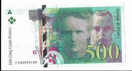 Billet 500 Francs Pierre Et Marie Curie 1998 - 500 F 1994-2000 ''Pierre Et Marie Curie''