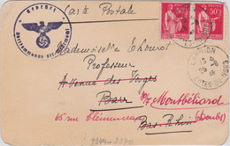 Paire Du 50c Paix Carte Postale De Fortune De Lannion 25 6 1940 Pour Barr Censurée Et Réexpédiée Le 30 7 à Montbéliard - WW II