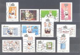 France Autoadhésifs Oblitérés (Série Complète : Lapins Crétins) (lignes Ondulées) - Used Stamps