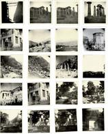 20 PETITES PHOTOS 6X6CM GRECE _ Habitants En Tenue, Canal Corinth, Temple D'apollone, Athènes Etc - ANNEE 1954 - Lieux