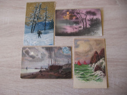4 CPA Tableaux Paysages De Nature - Schilderijen