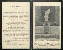 MEMENTO VILLE DE HONDSCHOOTE MORTS POUR LA PATRIE 1914-1918 - Décès