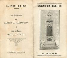 MEMENTO VILLE DE CAMPHIN EN CAREMBAULT  SES ENFANTS MORTS POUR LA FRANCE GUERRE 1914-1918 - Décès