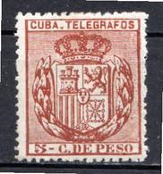 CUBA - (Occupation Espagnole) - 1894 - Télégraphe - N° 74 - 5 C. Brun-rouge - (Armoiries) - Telegrafo
