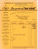 Facture- Fabrique De Teintures Instantanées Pour Cuir Et Peaux ,les Produits AU COQ - Puteaux ( Seine) De 1951 - Old Professions