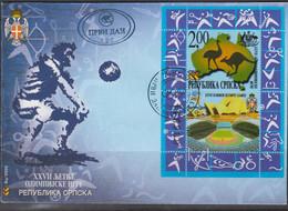OLYMPICS - BOSNIA/HERZOGOVINA/SERBIC -2000 - SYDNEY OLYMPICS SOUVENIR SHEET   ON  ILLUSTRATED FDC - Verano 2000: Sydney