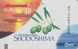 Télécarte Ancienne JAPON / NTT 370-010 - 50 U - Olive & Marine Island Sunset - JAPAN Front Bar Phonecard - Balken TK - Japan