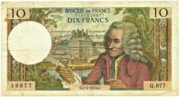 FRANCE - 10 Francs - 5.4.1973 - P 147.d - Serie Q.877 - Voltaire - 10 F 1963-1973 ''Voltaire''