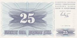Bosnie-Herzégovine - Billet De 25 Dinara - 1er Juillet 1992 - Neuf - Bosnie-Herzegovine