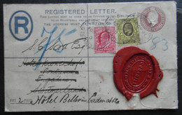 1904 REGISTERED LETTER LONDON REEXPEDITION SWITZERLAND SUISSE SCHWEIZ CADENABBIA ITALIA - Postwaardestukken