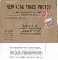 GANDON 3FR LILAS +10FR VIOLET ENVELOPPE HORS SAC PARIS 11.12.1948 TARIF 3EME - 1945-54 Marianne De Gandon