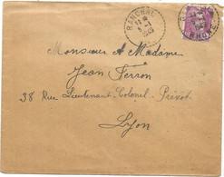 GANDON 10FR VIOLET LETTRE ( Jaunie) C. PERLE RANCHAL 5.1.1949 RHONE DERNIER JOUR DU TARIF A 10FR - 1945-54 Marianne De Gandon