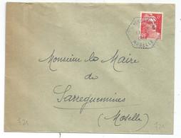 GANDON 6FR N°721A LETTRE C. HEX VIOLET WALSCHBRONN 19.4.1948 MOSELLE - 1945-54 Marianne De Gandon