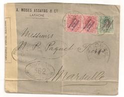 1916 DE LARACHE MOSES ASSAYAG A MARSEILLE / 3 TIMBRES AVEC SURCHARGE PROTECTORADO ESPANOL EN MARRUECOS / CENSURE  C1767 - Marocco Spagnolo