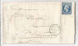 N° 14 LOSANGE CD AMBULANT CALAIS A DOUAI 2 FEVR 1861 A LETTRE LILLE NORD - 1849-1876: Klassik