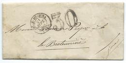MARQUE POSTALE DOLE DU JURA POUR LA BRETENIERE / 1855 / TAXE 30 DOUBLE TRAIT - 1849-1876: Période Classique