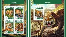 SOLOMON ISLANDS 2017 ** Tigers Tiger Tigres M/S+S/S - OFFICIAL ISSUE - DH1726 - Felinos