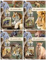 DJIBOUTI 2016 ** Big Cats Raubkatzen Grands Felins 4S/S - OFFICIAL ISSUE - DH1717 - Felinos