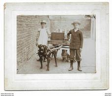 Allemagne-Photo Sur Carton-Auf Dem Schulhof/ Dans La Cour De L'Ecole-Attelage Chien-Enfants-Form:11.5/8.5cm-1904-2 Scans - Fliegende Händler