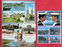 "50 - CHERBOURG . "" 3 MULTI-VUES "" . 3 CPM - Réf. N°27350 - - Cherbourg"
